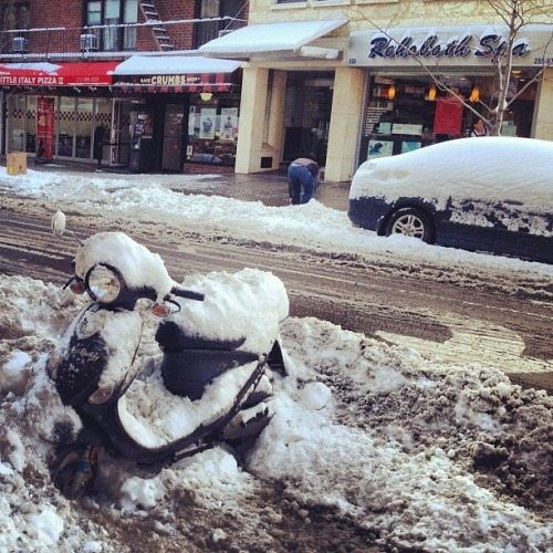 scoothub:  scooter pic of the day 2: nemo hit nyc, too, though not as hard as new england. this genuine buddy in union square seems almost shoveled out. fyi, this rehobeth spa is a place to get massages. if it were in rehoboth, massachusetts instead of manhattan, the rehoboth spa would probably be a convenience store.  Oh no!!!