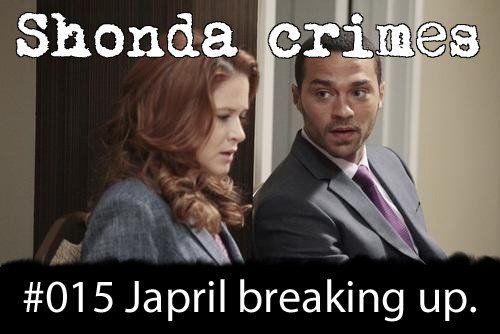 shondacrhimes:  Shonda crimes number: 15- Japril break up. They're 'mint to be'.