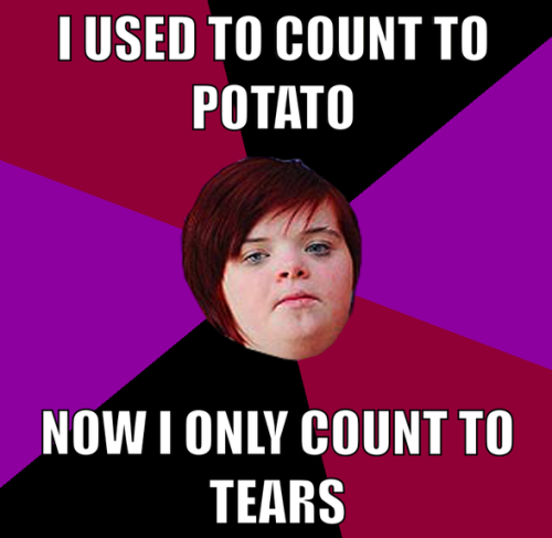 "The 10 worst memes of 2012  1) ""I can count to potato""  Although the ""I can count to potato"" meme predates 2012 by a couple of years—the folks over at Know Your Meme claim the first macro associated with it emerged in 2008—it came back with a vengeance in late April 2012 when Liz Cowter lashed out against the Internet after she discovered that her daughter Heidi, who has Down syndrome, was the subject of the meme's cruelty.  ""These trolls are cowardly, nasty people who should be punished for the damage they are doing to people with their comments,"" Cowter told The Sun. ""Heidi has told me she is very upset by the sites and she turns her head away when we have them on the computer screen.""  Instead of apologizing for making fun of Heidi, online communities like Canvas and the subreddit r/adviceanimals doubled down on their awfulness—turning Liz herself into a meme."