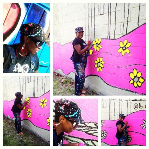 #spent #myday #painting #a #mural #klairerussell #artist #southside #toledo #hispanic #historic #area #flowers #pink #hair #goddess #instamood