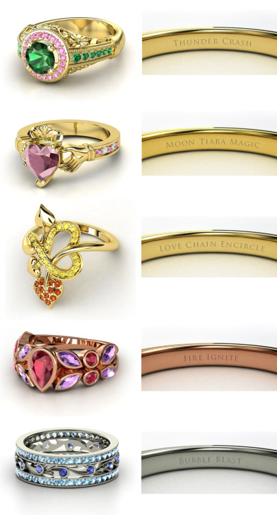 steelcandy:  Sailor Moon engagement rings! Sailor JupiterSailor MoonSailor VenusSailor MarsSailor Mercury (made on http://www.gemvara.com)