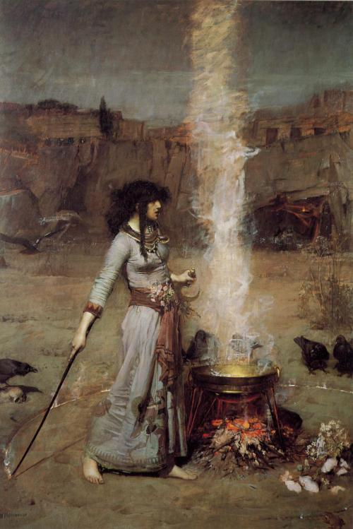 robespierressister:  John William Waterhouse: Magic Circle, 1886  (…) Round about the caldron go;  In the poison'd entrails throw.—  Toad, that under cold stone,  Days and nights has thirty-one;  Swelter'd venom sleeping got,  Boil thou first i' the charmed pot!  Double, double toil and trouble;  Fire burn, and caldron bubble.  (…) - William Shakespeare: Macbeth (Beginning of Act IV, Scene 1)