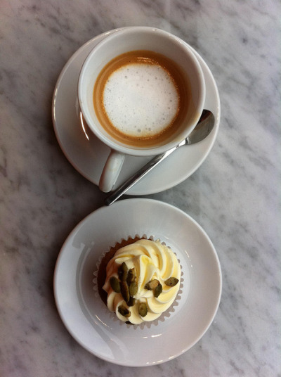 Illy macchiato & butternut squash cupcake from new Park Slope espresso bar, Crespella by Arancia Project on Flickr.