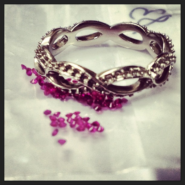 * working a custom #danawalden #ruby #wedding #ring *