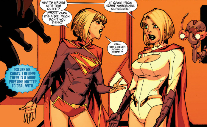 illegalmonkey:  Supergirl met her alternate self, Powergirl. Hilarity insued.