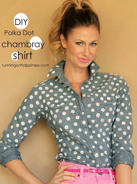 DIY polka dot chambray shirt via Running on Happiness
