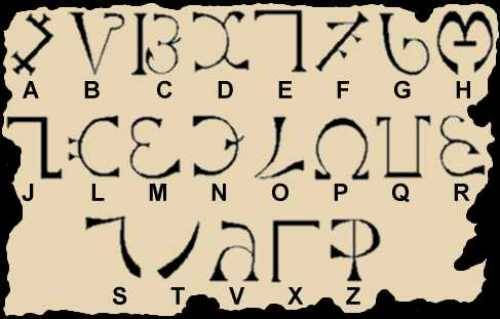 merrymeet:  The Enochian alphabet consists of twenty-one letters, and the language, like Hebrew and other angelic alphabets, is written right to left. Some letters represent multiple sounds, including some overlap.
