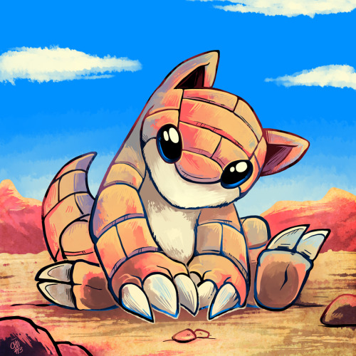 chunochousen:  027 Sandshrew Imagine younger me's surprise when I learned Sandshrew were basically real!  They're called pangolins and they're super cute, yet unfortunately endangered.  The more you know~* raizy@deviantArt