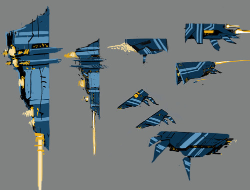 Some quick ship designs going for a hard front in mets whale like back end, like the concept. Gonna try another group of ships with a more Islamic theme, Colours are temp they probably need to be warmer.