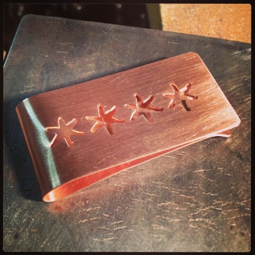 Copper Chicago Stars Money Clip - Erin Donnelly Ellis - Designer Jewelry For An Active Life www.erindonnellyellis.etsy.com #moneyclip #handmade #jewelrybench #erindonnellyellis #designerjewelryforanactivelife #chicago #chicagoflag #chicagostar #chicagostars #mensaccessories #accessories #etsy