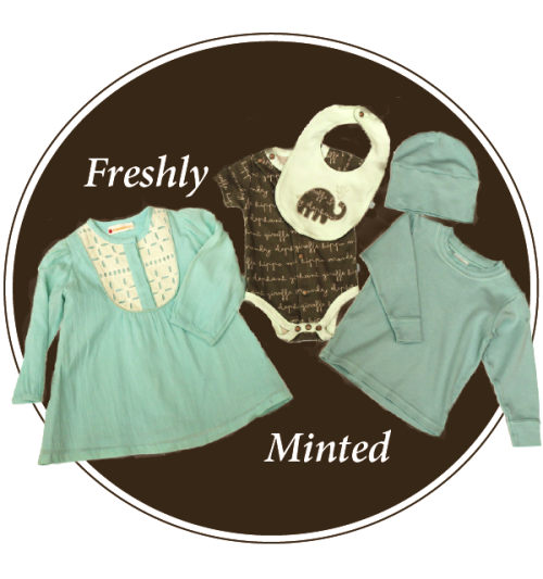 Mint is the color of the moment. Hot this spring, the hue is poised to continue to delight throughout the fall and winter. Seen here on Masala Baby's tunic, Finn + Emma's one-piece and bib and Cotton Caboodle's tee and hat.