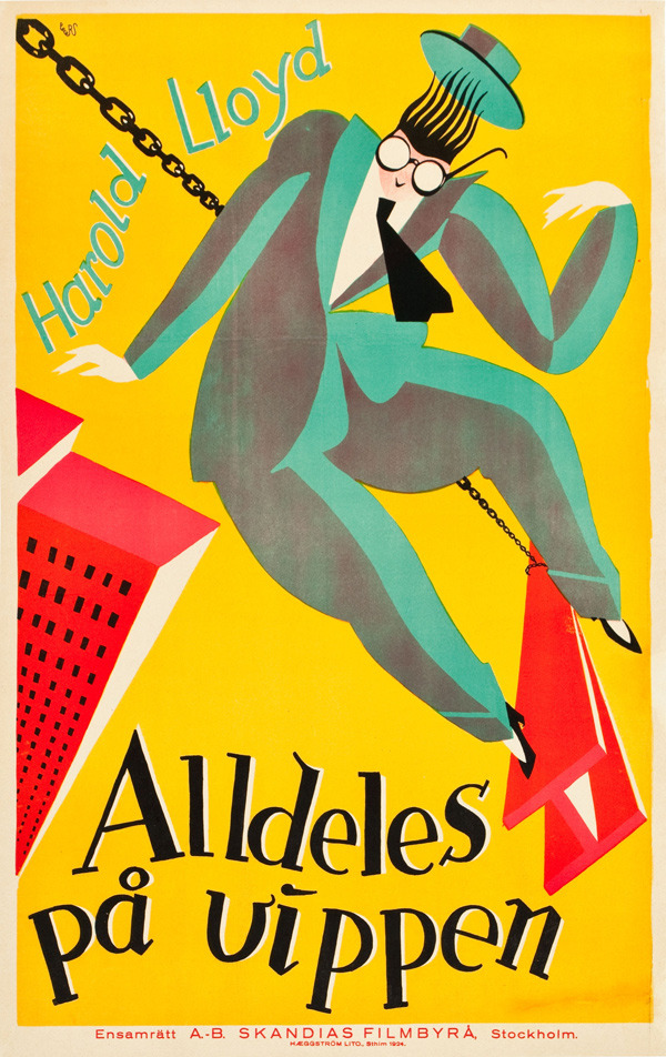 foreignmovieposters:  Safety Last! (1923). Swedish poster.