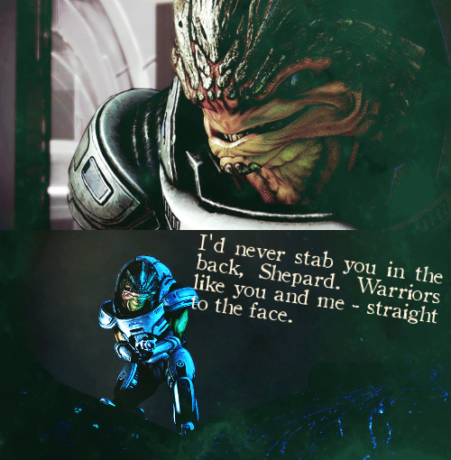 packingupmydinosaurs:   mass effect numbers meme (x) :: three quotes (2/3) :: i'd never stab you in the backcaps from: http://masseffect-caps.tumblr.com