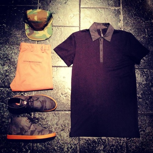 "BleeckerSt.com Men's Outfit of the Day ""Soldier On""  Five Panel Camo Cap: http://www.bleeckerst.com/collections/mens-hats-and-eyewear Clae Strayhorn Camo Canvas: http://www.bleeckerst.com/collections/kicks Black Polka Dot Polo: http://www.bleeckerst.com/collections/mens-tee-shirts Khaki Chinos: http://www.bleeckerst.com/collections/mens-jeans-and-pants"