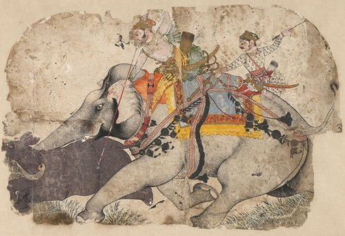 "indigenousdialogues:  Ram Singh I of Kota Hunting Rhinoceros [in my opinion, one of the greatest paintings ever made]Attributed to Kota Master A [see below for details]c. 1700India (Kota, Rajasthan)Opaque watercolor on paper""Although badly damaged, this hunting scene is one of the most dramatic known examples of the genre. The elephant as combatant was a favored subject in the court painting of Bundi, from which the Kota school evolved following the creation of that state by Shah Jahan in 1631. The subject of this painting, the elephant and two noble riders, are united as a single force, pitiless in pursuit of their prey. The Kota Master created one of the most powerful renderings of the hunt in Indian art, with skilled tonal modeling of the beasts and restrained use of color that is confined to the elephant's harnessings and blankets. Stuart Cary Welch [American scholar and curator of Indian and Islamic art] wrote of this work that such is its compelling energy that it makes us ""feel the thud of feet and the lashing of ropes, and hear the clang of bells.""Painting from Kota between the middle of the seventeenth century and the first half of the eighteenth century is very poorly documented, yet there are a handful of pictures bearing artist names, including Niju or Shaykh Taju. Stuart Cary Welch assigned the pictures from Kota and Bundi, all of them very similar in both style and subject matter — generally hunting or battle scenes — to three artists: the Master of the Elephants, the Kota Master, and Shaykh Taju. Milo Beach's [historian of Indian art] recent research has resulted in a different set of attributions. He recognized the Hada Master (active in Bundi and subsequently in Kota) and three styles from Kota attributed to individual artists whom he refers to as Artists A, B, and C. The B group shows the influence of the artist Niju.Artists like the Hada Master had a major influence on the development of painting in Kota, in both style and content. For example, motifs such as the lion climbing a tree in Ram Singh I of Kota hunting at Makundgarh were prefigured in the repertoire of Bundi painting. Yet the technique is different. Short brushstrokes predominate, notably in the foliage, and also wet washes, as seen in the bushes in the background. A most unusual technique was used to render the water splashing against the hunting platform; there, the pigments were sprayed onto the paper rather than brushed. The faces, by contrast, are formulaic, and they can be traced back to late works of the Hada Master. Instead of occupying the foreground, the actual hunting scene is embedded in a detailed landscape.""- Metropolitan Museum of Art [http://www.metmuseum.org/Collections/]"