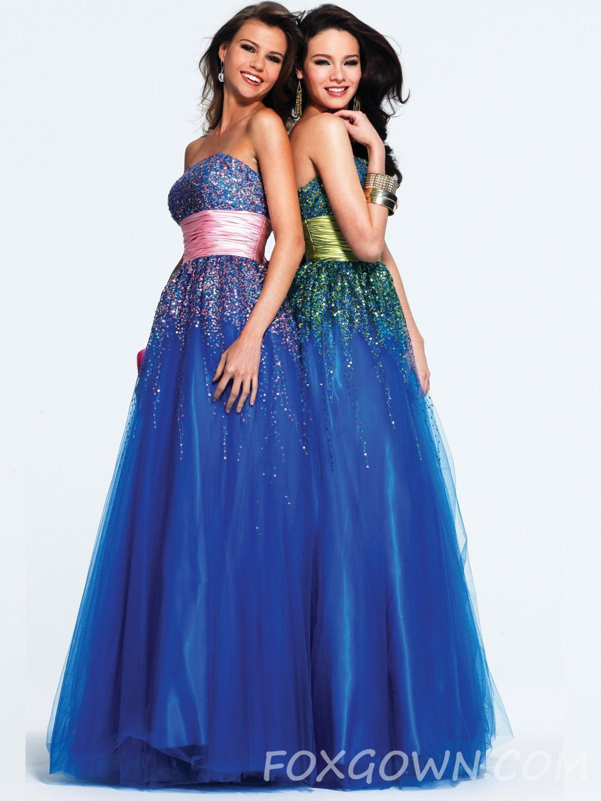 Royal Blue Strapless Sequin Tulle Ball Gown Prom Dress