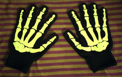 First Goth Swag of 2013: Skeleton Glow-in-the-Dark Gloves This was waiting for me in my mailbox on the morning of New Year's Eve, but I didn't have my key with me, so I waited till January 1st, thus making these gloves my first Goth Swag of 2013. Just like Barry Weiss of Storage Wars.  Follow Rad Recorder.