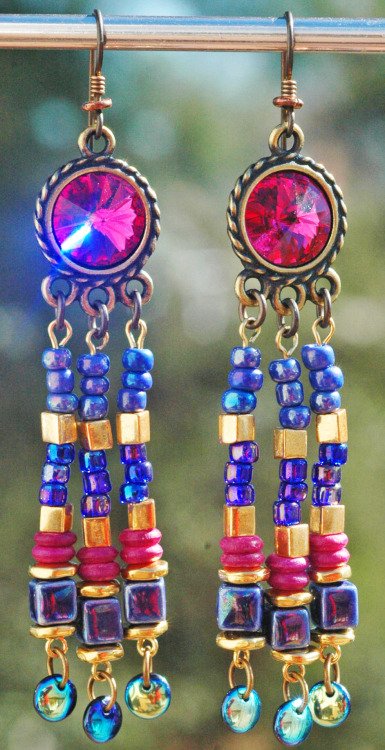 Pink & Purple Shimmer Crystal and Glass Chandelier Dangle Earrings purchase here