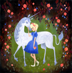 a unicorn in the pomegranate forest. Prints are available!  https://www.wwagallery.com/ProductDetails.asp?ProductCode=brigette-barrage-wwa-print-1