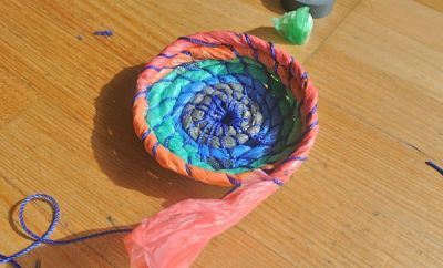 "ON OUR SITE: Sarah & Amandine made baskets from plastic bags - ""Let's not forget the turtles yo."""