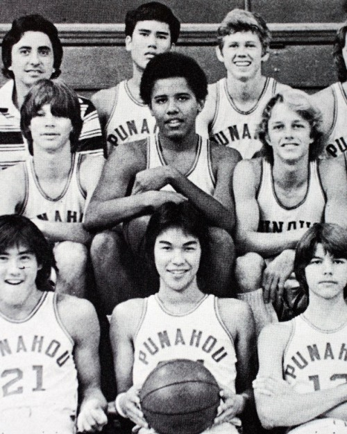 eltrupr:  thekhooll:  Barack Obama's basketball team - 1977  Who would've thought that this dude, or any dude, would eventually become president?