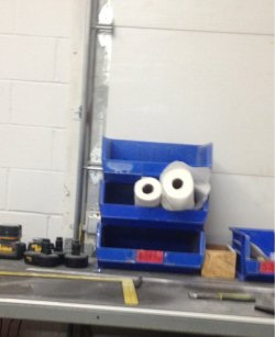 collegehumor:  This Bin and Paper Towel Rolls Look an Awful Lot Like Cookie Monster What.. What have me become??