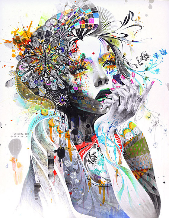 Minjae Lee is a self-taught fine artist who uses mainly markers and pencils to create these vivid and gorgeously detailed portraits. Created on large sheaves of paper, the portraits are expansive and myopic at the same time, composed from painstakingly layered patterns, symbols and details. Minjae Lee is only 23, yet his work has attained a great response from many private collectors and art enthusiasts around the world. He draws inspiration from people, emotions and nature.