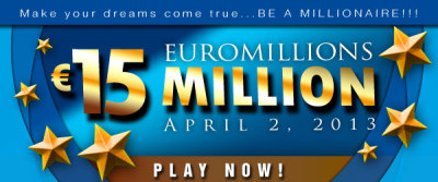 osalottos:  Euromillions Draw: Guaranteed EU 15M Jackpot on April 2 There was ONE jackpot winner in March 29th EuroMillions Draw. The winning numbers were 13-30-43-44-46 and Lucky Stars 05-09. The EuroMillions Jackpot on Tuesday, April 2 is a guaranteed EU 15M. Play the Euromillions now!