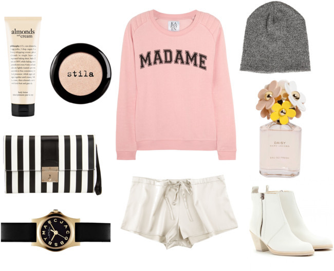 Statement Sweater | Original White Flimsy Shorts | Original Striped Clutch | Original White Heeled Boots | Original Gray Beanie | Original (image: lavagabonddame)