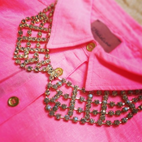 Planning my outfit for tonight. Neon button down + crystal bib? I think we have a winner. 💕