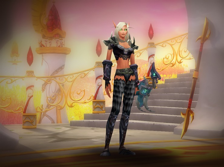 Jalisa the Wakener Female Blood Elf Hunter US Echo Isles [Black Dragonscale Shoulders] [Double Link Tunic] [Powderburn Bracers] [Yaungol Slayer's Gloves] [Nerubian Belt] [Ebonhold Leggings] [Nifflevar Boots]