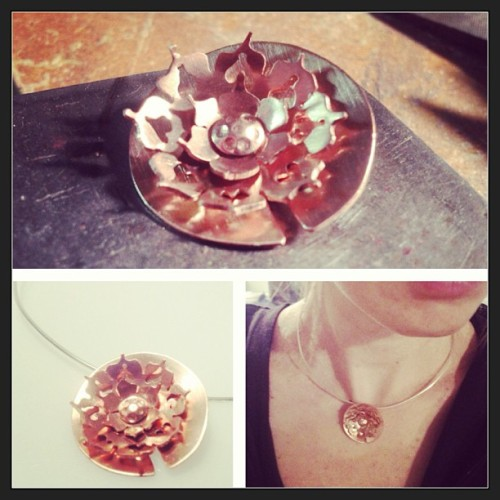 Copper Lotus pendant. Hand cut and fabricated by artist Erin Donnelly Ellis. Available at www.erindonnellyellis.etsy.com #lotus #lotusjewelry #copper #copperjewelry #jewelry #jewelrybench #jewelrystudio #jewelryartist #erindonnellyellis #designerhewelryforanactivelife #designer #etsy #etsyjewlery #flower #flowerjewelry #handmade #handcut #handfabricated #handmadejewelry #creativesharkies