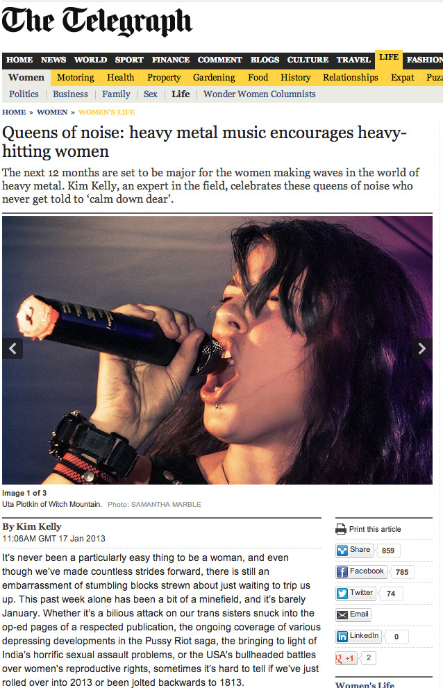 Kim Kelly wrote a great article about women in heavy metal for The Telegraph  that I was lucky enough to contribute a photo to. Click here or on the photo to read the article.