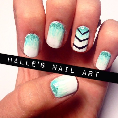 Teal ombré and thin black chevron- something simple
