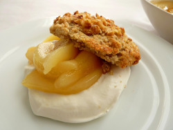 Blue Cheese Walnut Biscuits with Pear Compote and Cream by pastrystudio on Flickr.