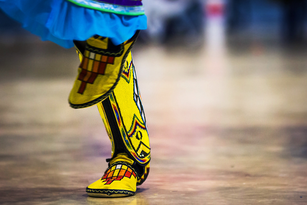 A Pow wow dancer's moccasins glistens with heritage at UNM-Gallup's Native American Club's fall Pow Wow 2012 in Gallup, New Mexico.