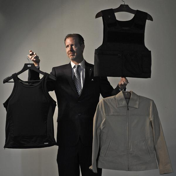 Denver bullet-proof apparel company wants to see you dressed to (not) kill Ditch the ugly old flak jacket. A new Denver company wants to be your Bulgari of bulletproof wear, your veritable Armani of armor-plated accessories. At the recently opened Elite Sterling Security LLC, customers can be assured that looking good need not take a back seat to protection from projectiles. For a price — and that price is high by pedestrian fashion standards — customers can find shirts, jackets, even tuxedos and gowns with bullet-resistant panels.  Just like Steven Seagal and Wu Tang Clan wear. (Source: The Denver Post)