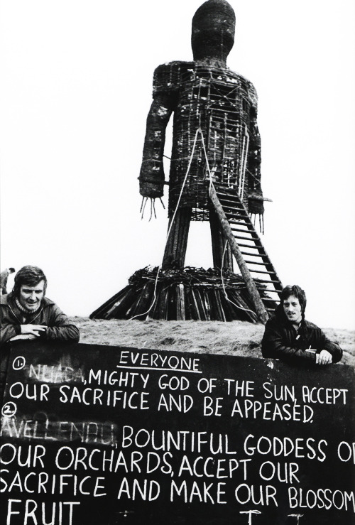 vintagegal:  Giant cue cards on the set of The Wicker Man (1973)