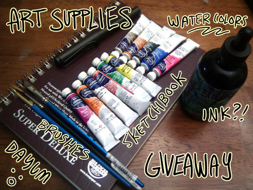 "purplekecleon:  Hi everyone!!! This is an art supplies giveaway for me reaching an amount of followers I said I'd do a giveaway at! Here are the things you'll be getting, as you can see from the photo! 6"" by 10"" Sketchbook for both wet and dry media A bottle of ink, you pick the color, I'll order it from a specific site A fountain pen that comes with the ink from the same site 11 colors of Cotman Winsor & Newton watercolors 3 brushes A drawing of a subject of your choice to go on the first page! You might want to check my art out if you're unfamiliar with me to see what types of things I usually do And that's that.  I don't use any of those watercolor tubes anymore, as I've replaced them each with higher quality tubes, so I thought: why not give them away?  And I like the fountain pen I've been using so much that I think I'd like someone else to try it, too.  I've also replaced the three brushes I've included here, so I don't need those, either.  And a drawing for good measure. Here are the rules! Please follow these: No giveaway blogs.  I want more people to actually see this and have a chance at getting something; a lot of artists don't have a lot of money… Reblogs enter you, and a Like helps.  You can't just like - but you can do both to double your chances of just reblogging (if it falls on someone who liked it, I'll check to see if they reblogged it) I'll be checking the blog that wins to see if you're an active blog. You gotta use these after they arrive! I obviously can't enforce this, but I want to see people not being timid! Make art! That's what these are for.  I know a thing that stops a lot of people is being scared they'll mess up and waste expensive supplies… but if this is a gift, that shouldn't matter! This ends on May 24th. If I send an ask and you don't respond within 2 days, I'll ask the next person, and so on. I will ship anywhere. I'll pay the shipping. I think that's everything.  Have fun!!! Good luck!   Oooh, sweet."