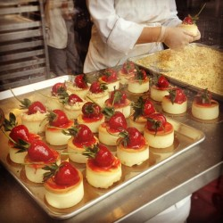 Hand made mini-strawberry cheesecakes being crafted by the pastry chef…