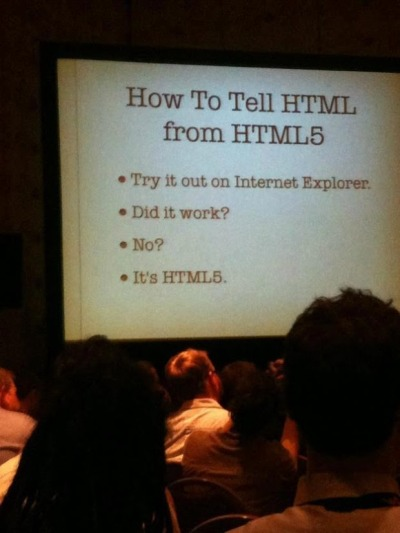 Friday wisdom: How to tell HTML from HTML5 Try out Internet Explorer Did it work? No? It's HTML5