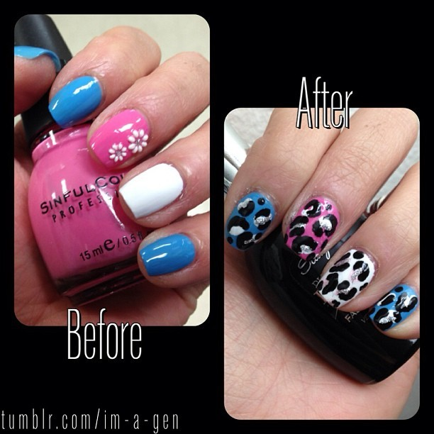 Got tired of the plainness… #beforeandafter #nails 💟 #easynailart #nailart #imagennails #cheetah #leopard #prints #patterns #pink #blue #white #silver #black
