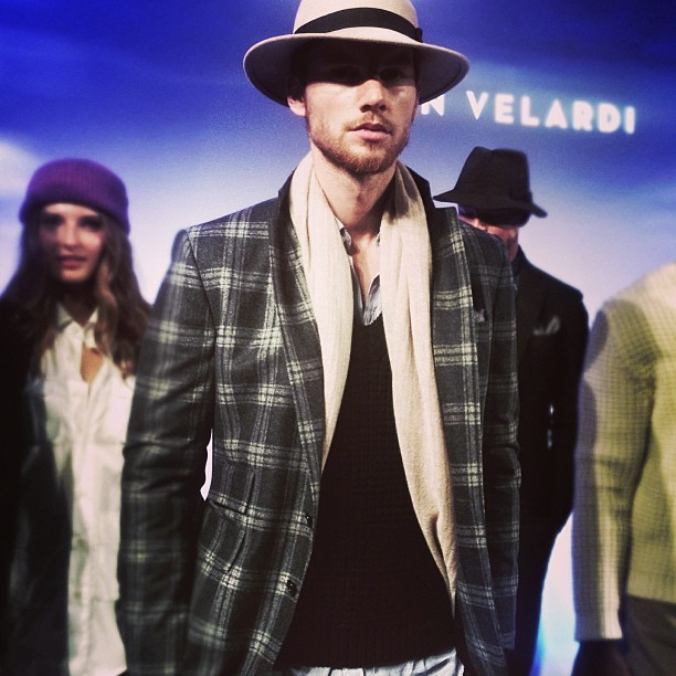 Grey plaid n camel fedora Ian Velardi #mbfw @mbfashionweek @hampusluck @wilhelminamodel #favoritelook