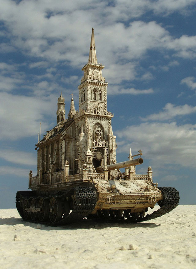 Churchtanks, Ornate Sculptural Mashups of Tanks and Cathedrals