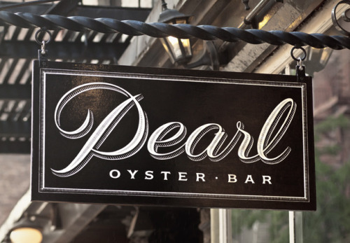 Typeverything.com Pearl Oyster Bar identity by Louise Fili.