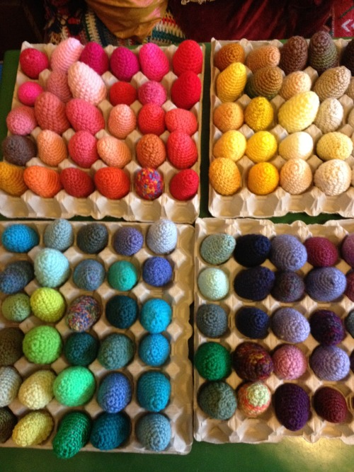 Crocheted eggs for school.
