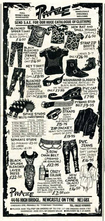 shiningblackness:  gorgonetta:  [Vintage ad for punk and goth gear] porkmagazine:  MY GEAR FIXATION IS BACK IN FULL EFFECT. I'M LOSIN' IT.   UGH I WANT ALL OF THEM