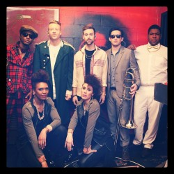@macklemore and @ryanlewis with their band and The Macklorettes backstage. #conanatl #macklemore #ryanlewis  (at CONAN at The Tabernacle)
