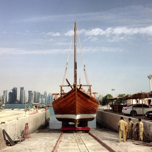 Spent the morning watching dhows being pulled out of the water, cleaned and scanned with lasers for a 3D model. A recce for a shoot this weekend. #nofilter #doha #dhows #boats (at MIA Park)