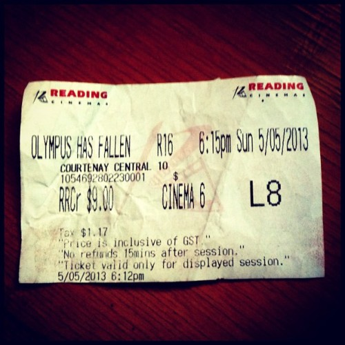 I once kept every movie ticket for a year. Now I have Instagram! This was a good action movie. 4/5. Watched with Ian. #movie #cinema #olympushasfallen #wellington #nz